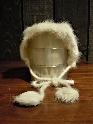Vintage Girl's White Furry Hat with Pom Pom Ties, Angora?