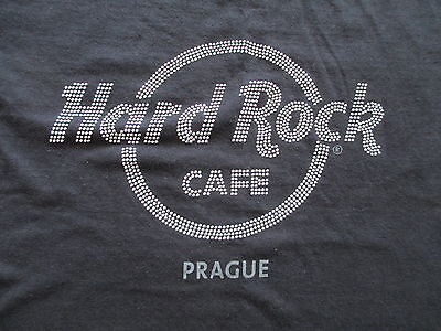 Hard Rock Cafe Prague Women Black Silver Rhinestone T Shirt M Medium L Large
