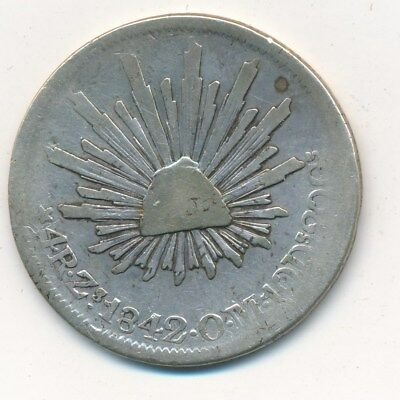 1842 Zs O.M. MEXICO SILVER 4 REALES-BEAUTIFUL CIRCULATED COIN! SHIPS FREE!