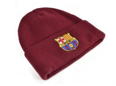 FC Barcelona Official Football Gift Mens Knitted Bronx Beanie Hat Crest New