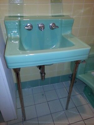 Vintage Retro American Standard Ming Green Sink w/ Chrome Legs