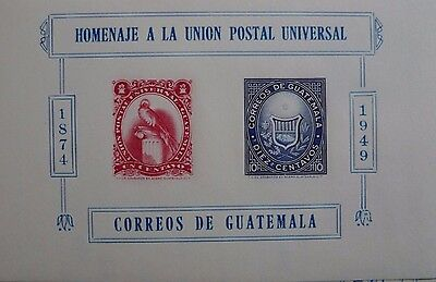 Guatemala Year 1949 U.p.u. Miniature Sheet  S/s Scott # 338 Mnh