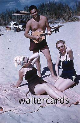 KODACHROME Orange Border Slide 1950s Pretty Sexy Woman Beach Shirtless Man