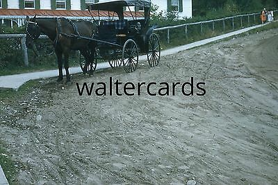 KODACHROME Red Border Slide 1950s Quebec street horse carriage dirt road