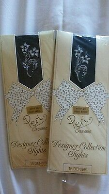 2 Pairs of Peri  Tights with Flower Motif