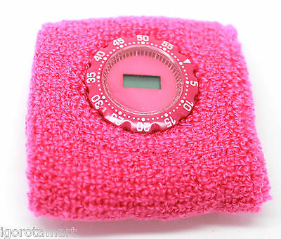 New Hot Pink Extrasoft Durable Terry Cloth Watch Sweatband WristBand Sports Gym