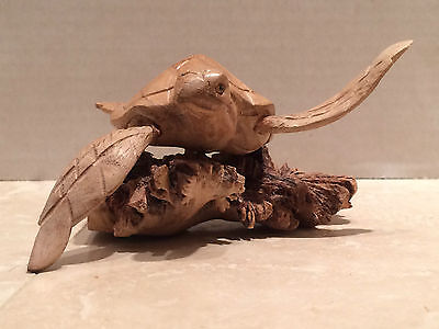 Hand Carved Wooden Swimming Sea Turtle Wood Sculpture