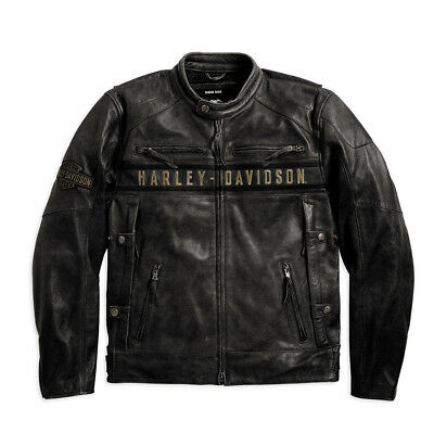 Genuine Harley-Davidson Mens Passing Link Leather Riding Motorcycle Jacket 98074
