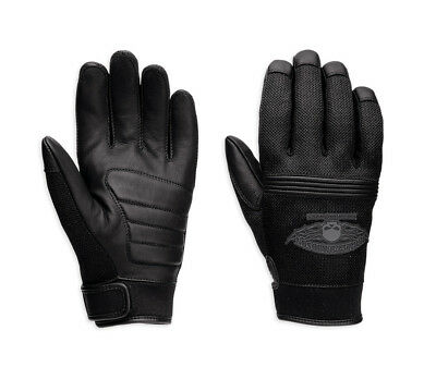 Genuine Harley-Davidson Mens Winged Skull Leather and Mesh Motorcycle Gloves 982