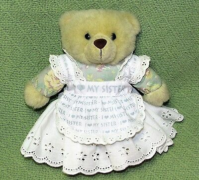 "Vintage SISTER Teddy Bear Avon 1996 Plush Stuffed I Heart My Sister Tan 9"" Doll"