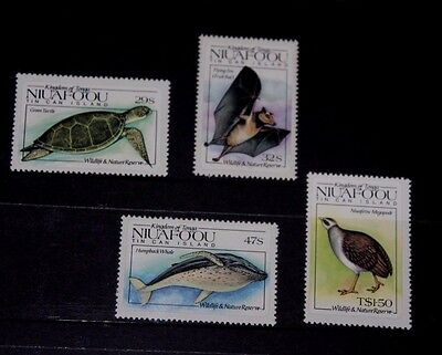 Niuafo Ou 1984 Wildlife Nature Reserve Birds,whales Turtle Set Of 4 Fine M/n/h