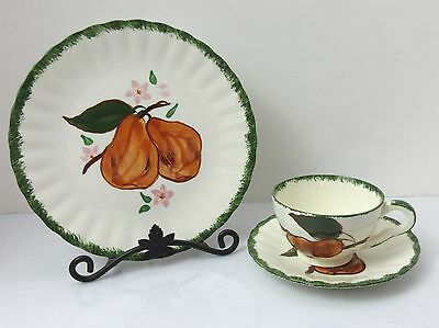3 pc Blue Ridge Pottery COUNTY FAIR GREEN Brown Pear Snack Plate + Cup & Saucer