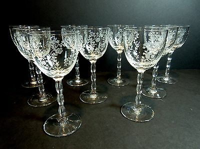 "9 Vintage Fostoria RAMBLER 5 1/4"" WINE GASSES ~ Stem # 6012 Cordial Cocktail 4oz"