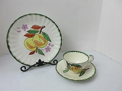 3 pc Blue Ridge Pottery COUNTY FAIR GREEN Peaches /  Apricot Plate Cup & Saucer