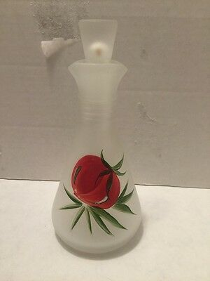 Vintage Frosted Cruet Anchor Hocking Painted Tomato