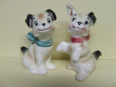 Vintage Playful Puppy Dogs w/Bows Salt & Pepper Shakers (Japan)