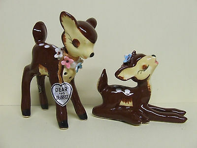 Vintage Momma Deer & Fawn (Dear & Dearest) w/Flowers Salt & Pepper Shakers