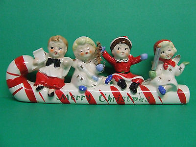 Vintage Commodore Christmas Boy & Girl Angels on Candy Cane Figurine (Japan)