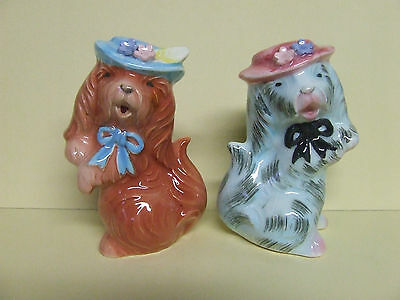 Vintage Puppy Dogs w/Hats, Bows & Flowers Salt & Pepper Shakers (Japan)