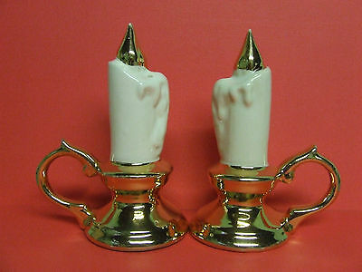 Vintage Chamber Candles/Candle Stick Holders Salt & Pepper Shakers