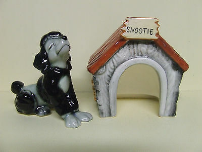 "Vintage Black Poodle ""Snootie"" & Dog House Salt & Pepper Shakers (Japan)"