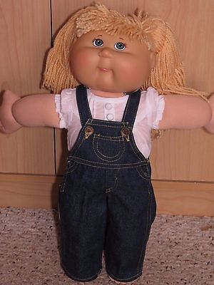 """Cute 2 Piece Jeans Overalls Outfit With Top To Fit The 16"""" Cabbage Patch Doll"""