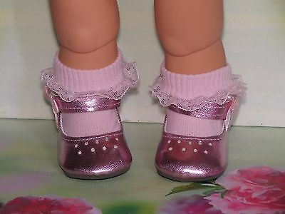 Pink Metallic Shoes To Fit The American Galoob Baby Face Girl Doll With Socks