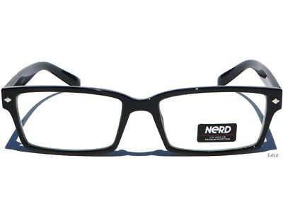 CLEAR LENS EYE GLASSES Classic Retro Design Black Polished Frame Nerd Eyewear
