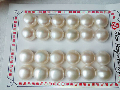 white half drilled freshwater pearl button genuine loose beads 1 pair 13mm