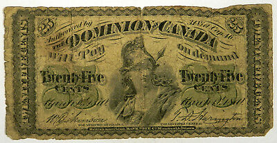 1870 Canada Twenty-Five Cents Fractional Shinplaster 25C - Priced Right!