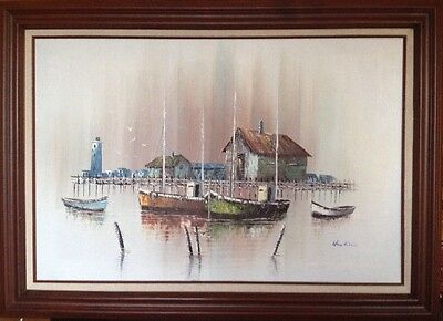 Original Oil On Canvas Boats And Lighthouse Signed Hawkins. Large Framed Piece