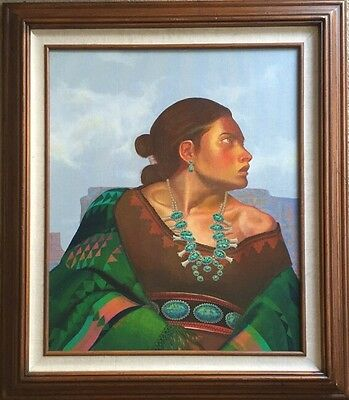 Original Painting By Navajo Artist Irving Toddy Of Native American Woman. Signed