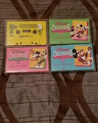 Disney Children's Favorites Songs Lot Vol. 1,2,3,4 Disneyland Casette Tape