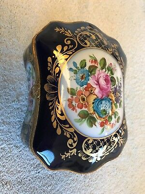 "SALE Large Rare 8.5"" Antique French Hinged Hand Painted Porcelain Jewelry Box"