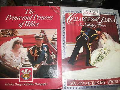Prince Charles & Diana Spencer - Wedding + 10 Year Anniversary books - FREE POST