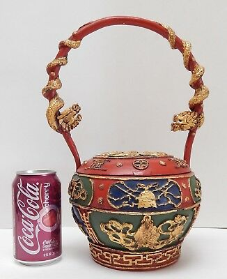 Antique Chinese Hand Carved Red Lacquer Gilded Basket Box