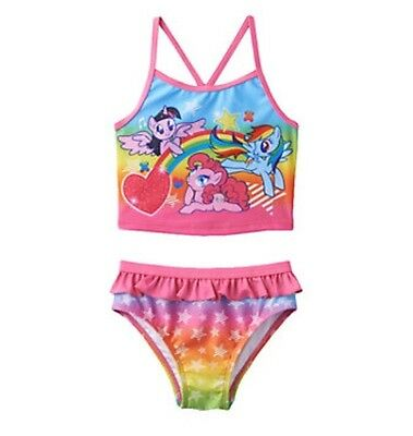 My Little Pony Toddler Girl Bathing Swim Suit Size 2T Tankini Two Piece NEW