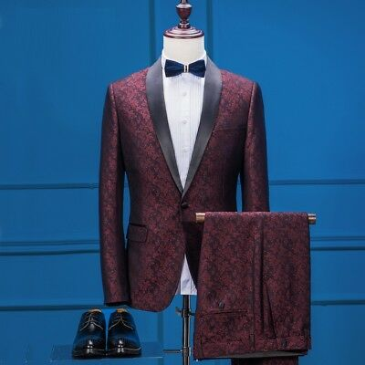 Men Wine Red Jacquard Paisley Floral Suit Groom Tuxedos Party Prom Suit