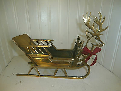 Vintage Brass Christmas Reindeer Sleigh 10 by 8 inches  made in Taiwan