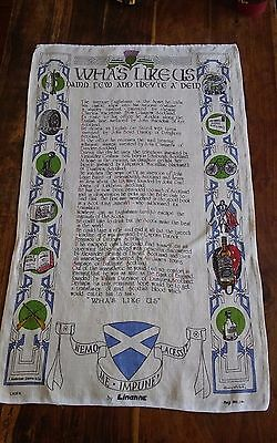 Vtg linen tea towel Linanne Scottish Wha's Like Us Dunlop Scotch famous Scots