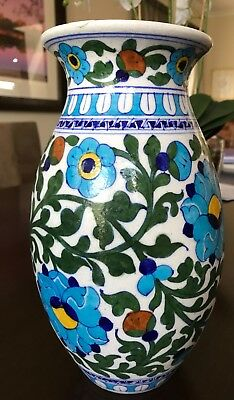 Indian Blue Art Pottery Round Flower Vase from Jaipur