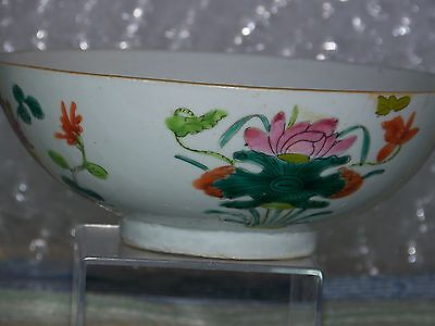 """Chinese Antique Qing Dy Famille Rose Lotus Flower Porcelain """"Large""""Bowl"""