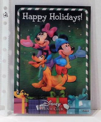 HAPPY HOLIDAYS WITH MICKEY Disney Movie Club 3D Lenticular Card RARE Collector