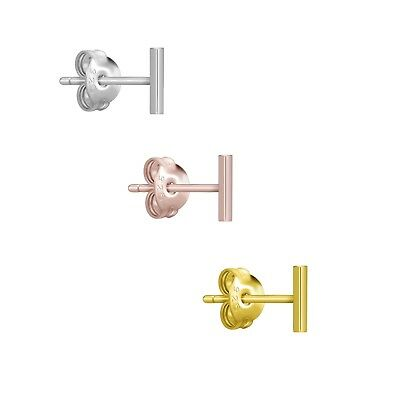925 Sterling Silver / Gold / Rose Gold Mini Stick Line Stud Bar Earrings