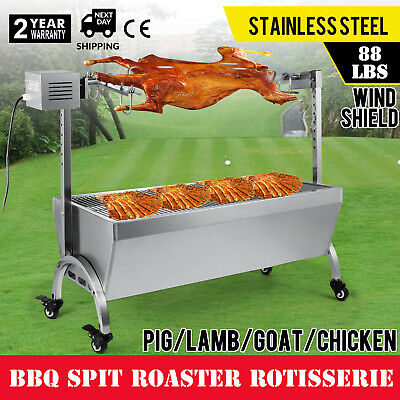 88 Lbs Bearing Lamb Spit Roaster Machine Charcoal Goat Meat Electric