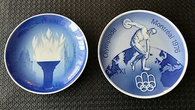 Lot of 2 Montreal 1976 Olympic Plates Royal Copenhagen Bing Grondahl Porcelain