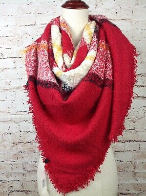 NEW Women's Large Blanket Scarf Plaid Fuzzy Thick Tartan Shawl Winter Red Yellow