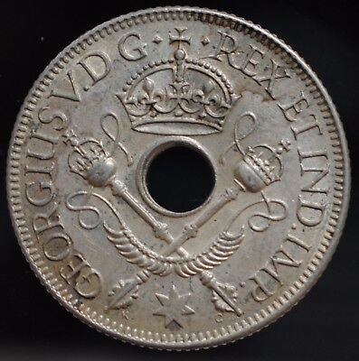 1935 Territory of New Guinea Shilling - 92.5% Silver, Melbourne Mint.