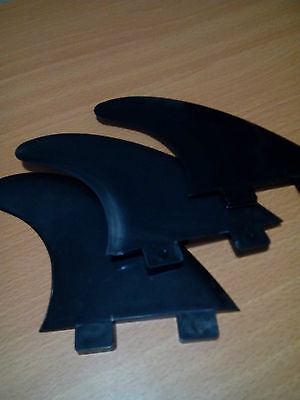 SURFBOARD FINS FCS G5 Compatible BLACK Tabbed. Tough Nylon. 3 Fin THRUSTER Set