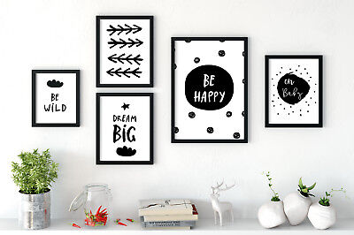 Set of 5 Art Prints Be Happy Dream Big Wild Kids Room Black & White Gallery Wall